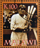 MALAWI - CIRCA 2007: A stamp printed in Malawi dedicated to greatest baseball players, shows Babe Ruth, circa 2007 — Stock Photo