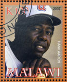 MALAWI - CIRCA 2007: A stamp printed in Malawi dedicated to greatest baseball players, shows Hank Aaron, circa 2007 — Stock Photo