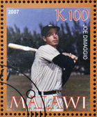 MALAWI - CIRCA 2007: A stamp printed in Malawi dedicated to greatest baseball players, shows Joe Dimaggio, circa 2007 — Stock Photo