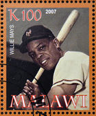 MALAWI - CIRCA 2007: A stamp printed in Malawi dedicated to greatest baseball players, shows Willie Mays, circa 2007 — Stock Photo