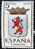 SPAIN - CIRCA 1965: A stamp printed in Spain dedicated to Arms of Provincial Capitals shows Leon, circa 1965. — Stock Photo