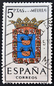SPAIN - CIRCA 1965: A stamp printed in Spain dedicated to Arms of Provincial Capitals shows Melilla, circa 1965. — Stock Photo
