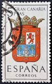 SPAIN - CIRCA 1965: A stamp printed in Spain dedicated to Arms of Provincial Capitals shows Gran Canaria, circa 1965. — Stock Photo