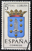 SPAIN - CIRCA 1965: A stamp printed in Spain dedicated to Arms of Provincial Capitals shows Coruna, circa 1965. — Stock Photo