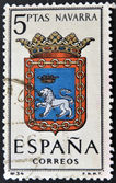 SPAIN - CIRCA 1965: A stamp printed in Spain dedicated to Arms of Provincial Capitals shows Navarra, circa 1965. — Stock Photo