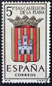 Spanien - cirka 1965: en stämpel som tryckt i Spanien tillägnad vapen av provinsiella huvudstäder visar castellon, cirka 1965. — Stockfoto