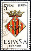 SPAIN - CIRCA 1965: A stamp printed in Spain dedicated to Arms of Provincial Capitals shows Lerida, circa 1965. — Stock Photo