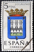 SPAIN - CIRCA 1965: A stamp printed in Spain dedicated to Arms of Provincial Capitals shows Logrono, circa 1965. — Stock Photo