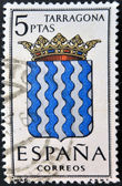 SPAIN - CIRCA 1965: A stamp printed in Spain dedicated to Arms of Provincial Capitals shows Tarragona, circa 1965. — Stock Photo