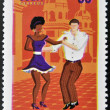 CUBA - CIRCA 2010: A stamp printed in Cuba dedicated to popular dances, shows salsa dance, circa 2010 — Stock Photo