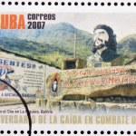 CUBA - CIRCA 2007: Stamp printed in Cuba dedicated to 40th anniversary of the fall in combat of Che, shows monument to Che in La Higuera, Bolivia, circa 2007 — Stock Photo