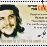 CUBA - CIRCA 2007: Stamp printed in Cuba dedicated to 40th anniversary of the fall in combat of Che, shows portrait of che, circa 2007 — Stock Photo