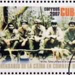 CUBA - CIRCA 2007: Stamp printed in Cuba dedicated to 40th anniversary of the fall in combat of Che, shows Inti, Urbano, Rolando, el Che, Tuma y Arturo in the Sierra Maestra, circa 2007 — Stock Photo