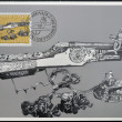 LIECHTENSTEIN - CIRCA 1980: A stamp printed in Liechtenstein dedicated to hunting weapons shows hunting rifle and power horn, circa 1980 — Stock Photo