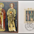 LIECHTENSTEIN - CIRCA 1979: A stamp printed in Liechtenstein dedicated to Patron Saints of Liechtenstein shows St Luzius and St Florin, circa 1979 — Stock Photo