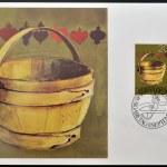 LIECHTENSTEIN - CIRCA 1980: A stamp printed in Liechtenstein dedicated to old alpine dairy farming implements shows Milking Pail, circa 1980 — Stock Photo