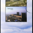 PORTUGAL - CIRCA 2005: stamps printed in Portugal dedicated to the historic villages of Portugal, shows Linhares da Beira, between heaven and earth, circa 2005 — Stock Photo