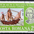 ROMANIA - CIRCA 1992: A stamp printed in Romania shows Bust of Columbus and ship La Pinta, 500th Anniversary of Discovery of America by Columbus, circa 1992  — Stock Photo