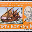 ROMANIA - CIRCA 1992: A stamp printed in Romania shows Bust of Columbus and ship La Nina, 500th Anniversary of Discovery of America by Columbus, circa 1992  — Stock Photo