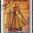 TANZANIA - CIRCA 1994: A stamp printed in Tanzania shows image of a ship, galeas, circa 1994 — Stock Photo