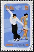CUBA - CIRCA 2010: A stamp printed in Cuba dedicated to popular dances, shows chachacha dance, circa 2010 — Stock Photo