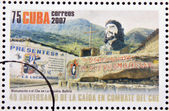 CUBA - CIRCA 2007: Stamp printed in Cuba dedicated to 40th anniversary of the fall in combat of Che, shows monument to Che in La Higuera, Bolivia, circa 2007 — Stock Photo