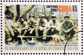 CUBA - CIRCA 2007: Stamp printed in Cuba dedicated to 40th anniversary of the fall in combat of Che, shows Inti, Urbano, Rolando, el Che, Tuma y Arturo in the Sierra Maestra, circa 2007 — Stock Photo