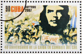 CUBA - CIRCA 2007: Stamp printed in Cuba dedicated to 40th anniversary of the fall in combat of Che, shows demonstration with the image of Che, circa 2007 — Stock Photo