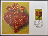 LIECHTENSTEIN - CIRCA 1980: A stamp printed in Liechtenstein dedicated to old alpine dairy farming implements shows Decorative heart for the driving of Cattle from alpine pastures, circa 1980 — Stock Photo