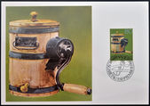 LIECHTENSTEIN - CIRCA 1980: A stamp printed in Liechtenstein dedicated to old alpine dairy farming implements shows Butter Churn, circa 1980 — Stock Photo