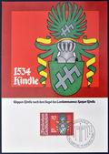 LIECHTENSTEIN - CIRCA 1981: A stamp printed in Liechtenstein shows Arms of Kaspar Kindle, circa 1981 — Stock Photo