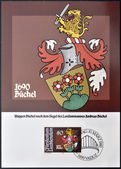 LIECHTENSTEIN - CIRCA 1980: A stamp printed in Liechtenstein shows Arms of Andreas Buchel, circa 1980 — Stock Photo