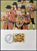 Liechtenstein - circa 1980 : un timbre imprimé au liechtenstein dédiée aux costumes traditionnels, montre la fanfare à mauren, circa 1980 — Photo
