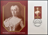 LIECHTENSTEIN - CIRCA 1980: A stamp printed in Liechtenstein shows Maria Theresia, duchess of Savoy, circa 1980 — Stock Photo