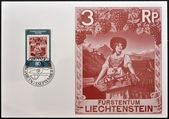 LIECHTENSTEIN - CIRCA 1980: A stamp printed in Liechtenstein dedicated to 50 years of Postal Museum shows countrywoman with basket of fruits, circa 1980 — Foto de Stock