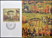LIECHTENSTEIN - CIRCA 1978: Stamp printed in Liechtenstein dedicated to paintings of Golden Carriage and Horses, shows Golden Carriage of Prince Joseph Wenzel, circa 1978 — Stock Photo