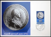 LIECHTENSTEIN - CIRCA 1978: Stamp printed in Liechtenstein dedicated to coin and medals, shows Prince Josef Wenzel of Liechtenstein, circa 1978 — Stock Photo