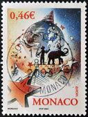 MONACO - CIRCA 2002: A stamp printed in Monaco dedicated to the circus, circa 2002 — Stock Photo