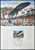 LIECHTENSTEIN - CIRCA 1979: Stamp printed in Liechtenstein shows Mailplane over Schaan, circa 1979 — Stock Photo