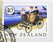 NEW ZEALAND - CIRCA 2003: A stamp printed in New Zealand dedicated to old cars, shows 1895 Benz Velo, circa 2003 — ストック写真
