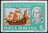 ROMANIA - CIRCA 1992: A stamp printed in Romania shows Bust of Columbus and ship Santa Maria, 500th Anniversary of Discovery of America by Columbus, circa 1992 — Stock Photo