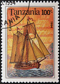 TANZANIA - CIRCA 1994: A stamp printed in Tanzania shows image of a ship, galeas, circa 1994 — Stock Photo