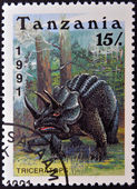 TANZANIA - CIRCA 1991: A stamp printed in Tanzania shows Triceratops, circa 1991 — Stock Photo