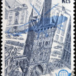 CZECHOSLOVAKIA - CIRCA 1976: stamp printed in Czechoslovakia, Prague 1978 shows Emblem, Silhouette plane and the Powder Tower, circa 1976 — Stock Photo