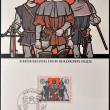 LIECHTENSTEIN - CIRCA 1982: A stamp printed in Liechtenstein shows peasants revolt, 1525, circa 1982 — Stock Photo