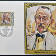 LIECHTENSTEIN - CIRCA 1981: A stamp printed in Liechtenstein dedicated to portraits of famous visitors to Liechtenstein shows Hermann Hesse, circa 1981 — Lizenzfreies Foto
