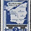 Stock Photo: SAN MARINO - CIRC1943: stamp printed in SMarino shows map of SMarino, circ1943