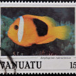 VANUATU - CIRCA 1990: Stamp printed in anuatu shows a Red anemonefish (Amphiprion rubrocinctus), circa 1990 — Stock Photo