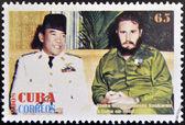 CUBA - CIRCA 2008: Stamp printed in cuba shows President Sukarno of Indonesia and Fidel Castro, circa 2008 — Stock Photo