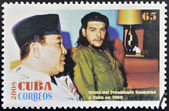 CUBA - CIRCA 2008: Stamp printed in cuba shows President Sukarno of Indonesia and Ernesto Che Guevara, circa 2008 — Stock Photo